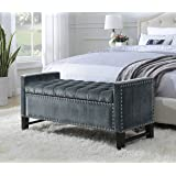 Iconic Home Marcus Neo Traditional Velvet Tufted Storage Bench, Grey