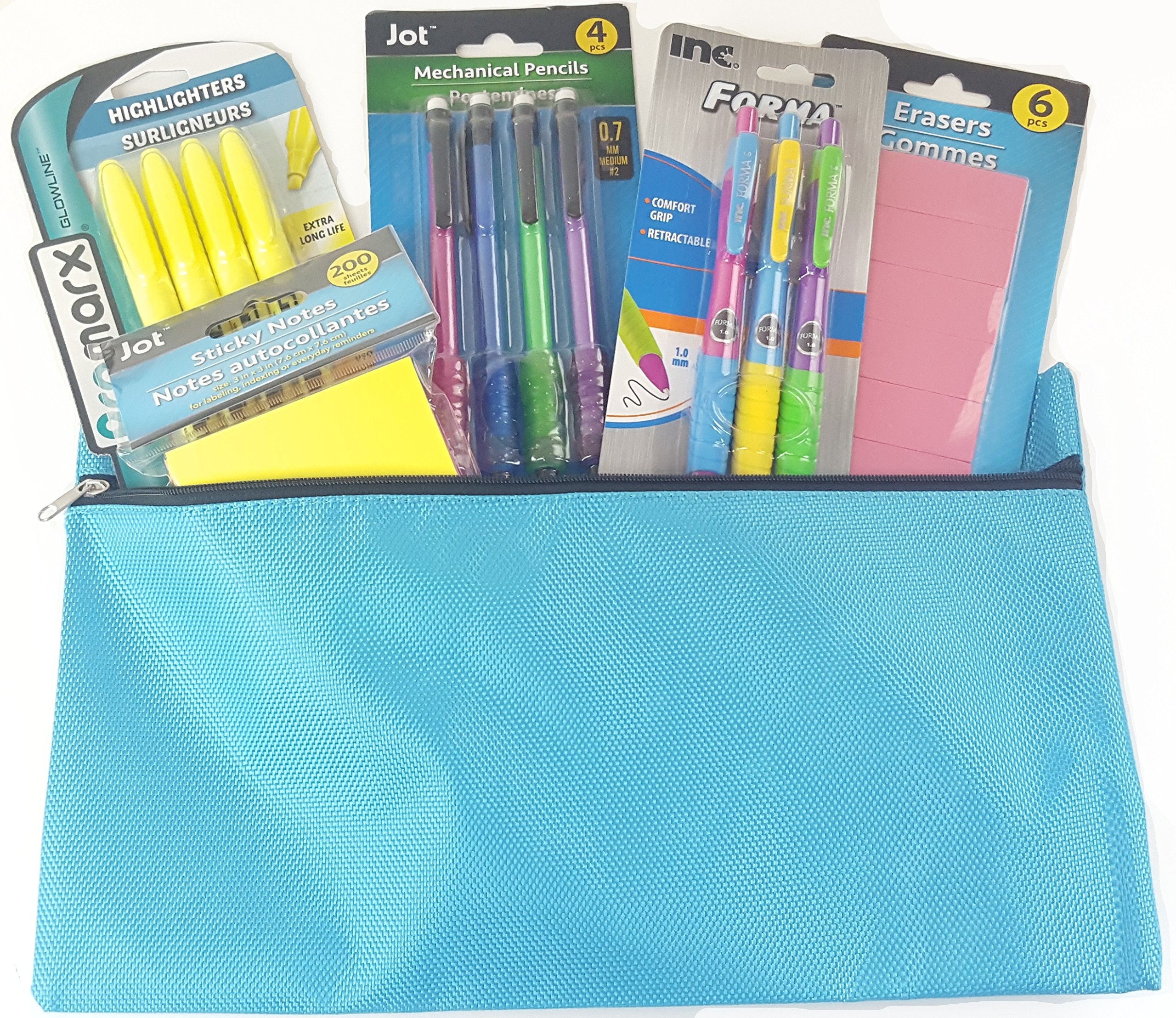 School Supply Bundle Set of Pencil Pouch Bag with Mechanical Pencils, Pens, Highlighters, Erasers, Sticky Notes (6 Items) Back to School
