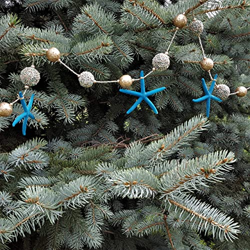 beach decor starfish christmas garland nautical decor teal starfish christmas garland goldteal - Teal And Gold Christmas Decorations