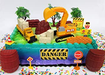 Amazoncom Construction Themed Cake Topper Featuring Earth Moving