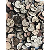 NIGHT-GRING 200pcs Rustic Wooden Love Heart Wedding Table Scatter Decoration Crafts Children's DIY Manual Patch