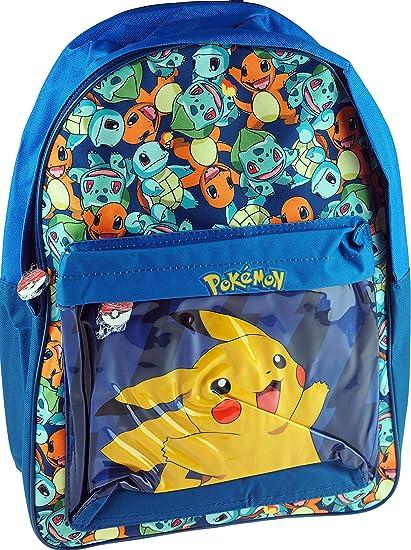 Mochila escolar de Pokemon, con Pikachu en el bolsillo frontal