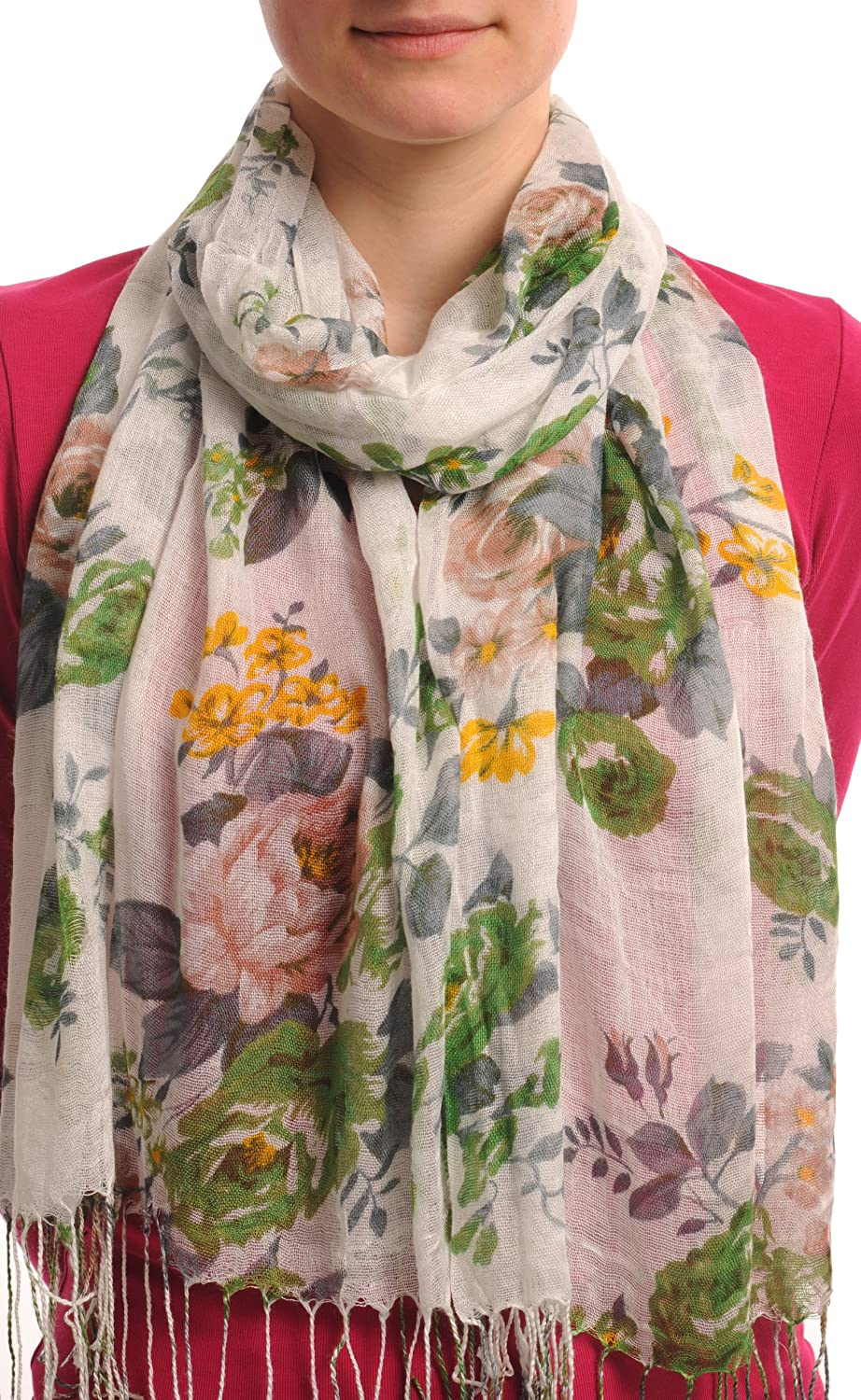 Green & Beige Roses On White With Tassels - Multicolored Designer Scarf