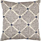 "Rivet Transitional Tufted Dot Diamond Decorative Throw Pillow, 17"" x 17"" , Navy"