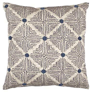 Stone & Beam Transitional Tufted Dot Diamond Pillow, 17  x 17  , Navy