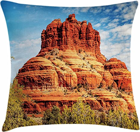Amazon Com Lunarable Western Throw Pillow Cushion Cover Famous Bell Rock And Courthouse Butte In Sedona Arizona Usa Nature Desert Decorative Square Accent Pillow Case 28 X 28 Cinnamon Blue Green Home