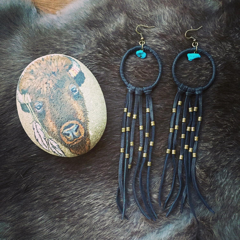 DREAM CATCHER earrings,Black beige earrings-festival jewelry-Boho earrings-Bohemian Gypsy jewelry-leather earrings AE123BL
