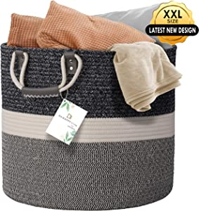 """DS HappyLiving XXL 18.1x18.1x18.1"""" Woven Laundry Basket 100% Natural Cotton 