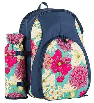 Flores de invernadero 73385 4 persona Picnic mochila con soporte para botellas – Multicolor