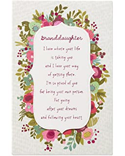 American Greetings Floral Birthday Greeting Card For Granddaughter With Glitter