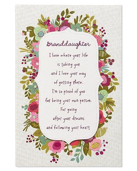Amazon.com: Floral Tarjeta de cumpleaños para nieta con ...