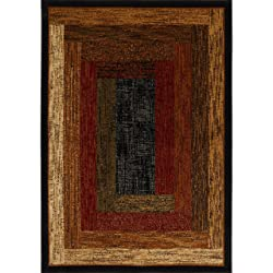 """Home Dynamix Royalty Vega Area Rug   Traditional Dining Room Rug   Classic Boarders and Rectangular Design   Soft Texture   Black, Neutral 5'2"""" x 7'2"""""""