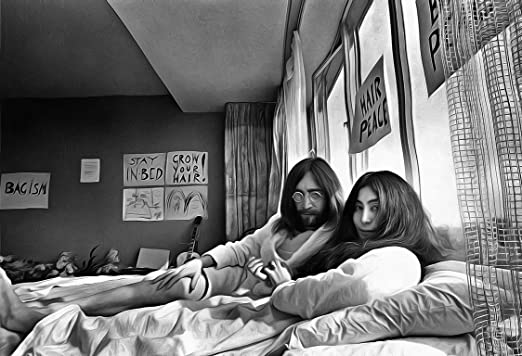 John Lennon Yoko Ono Poster 13x19 Fine Art Canvas Black And White Print Bed In For Peace Amazon Ca Home Kitchen