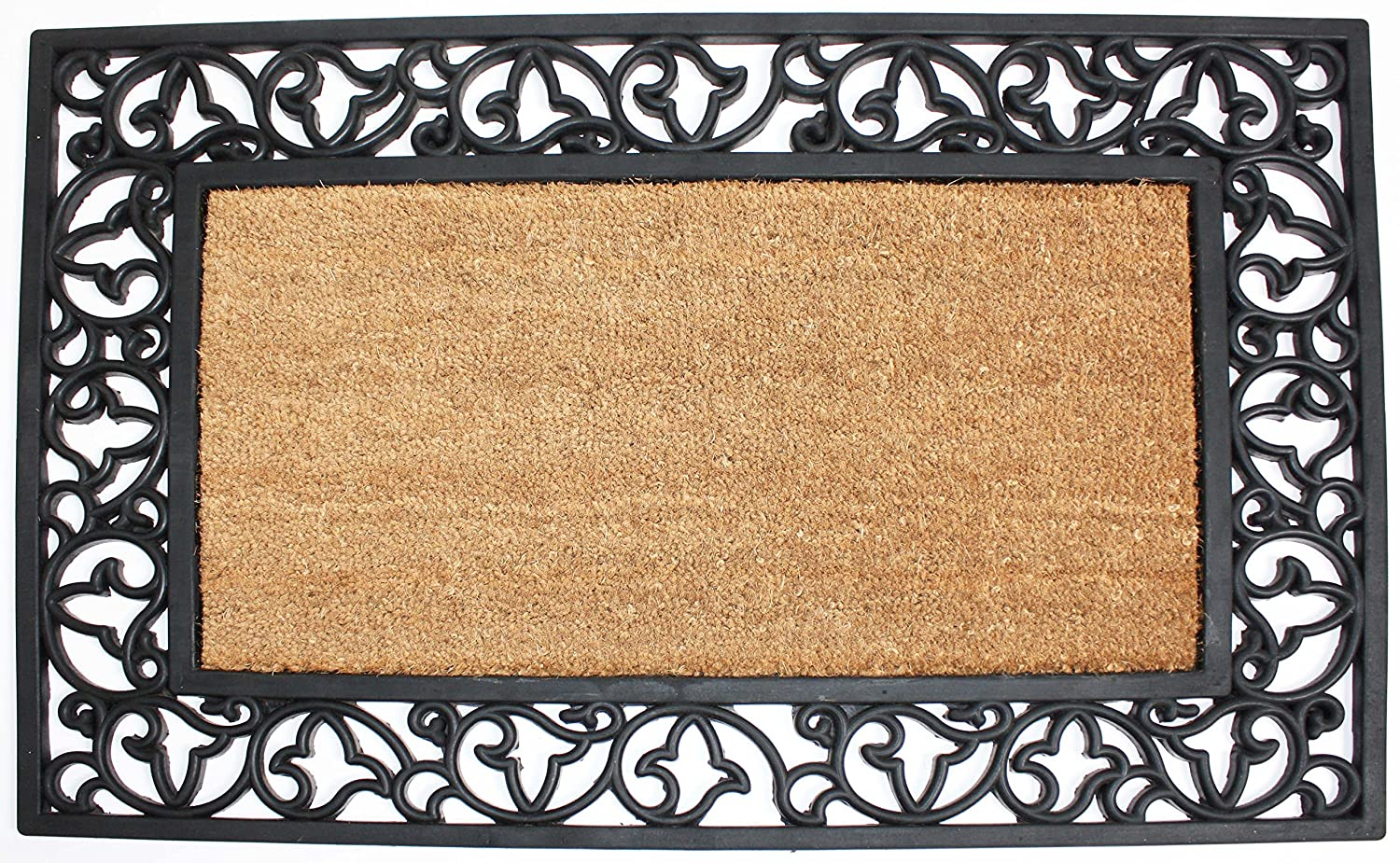 J & M Home Fashions Half Round Sunburst Coco and Rubber Doormat, 24 by 36-Inch, Beige 10590A