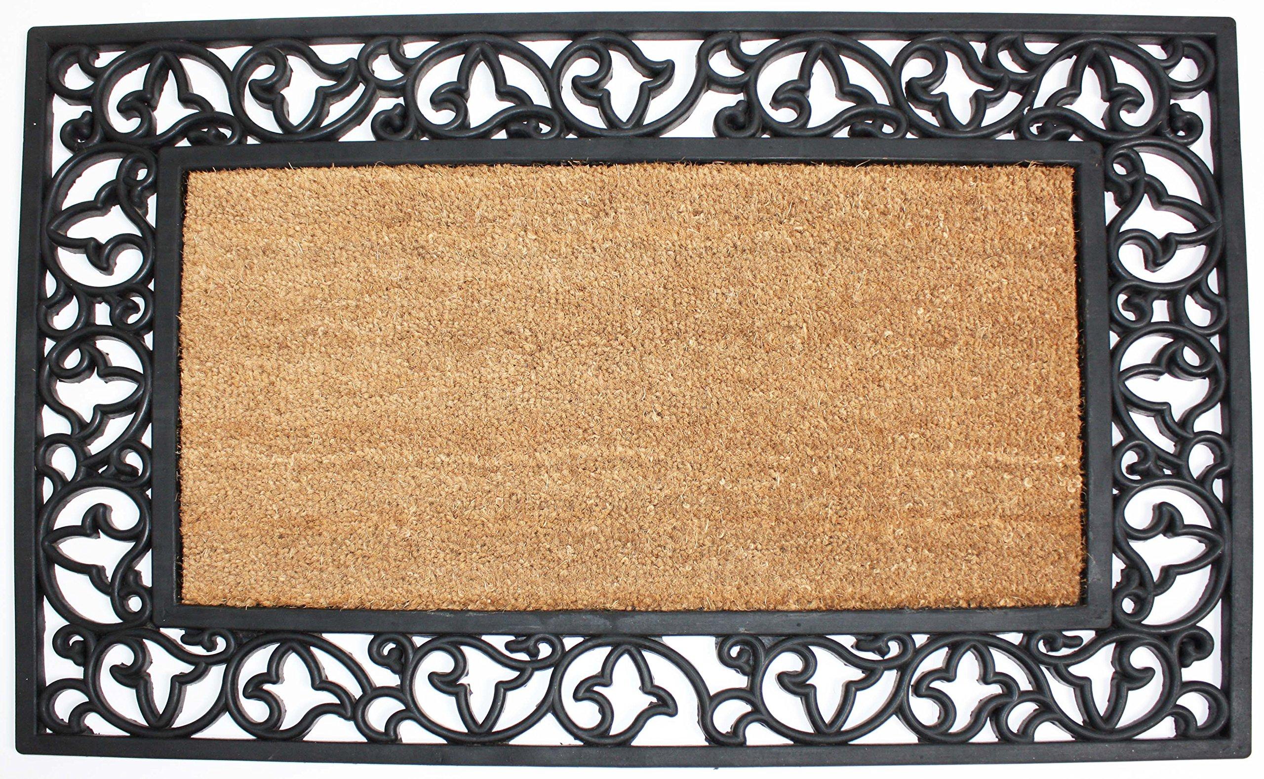 J&M Home Fashions Natural Coir Rubber Non-Slip Doormat, 24x40, Heavy Duty Entry Way Shoes Scraper Patio Rug Dirt Debris Mud Trapper Waterproof-Plain Rectangle