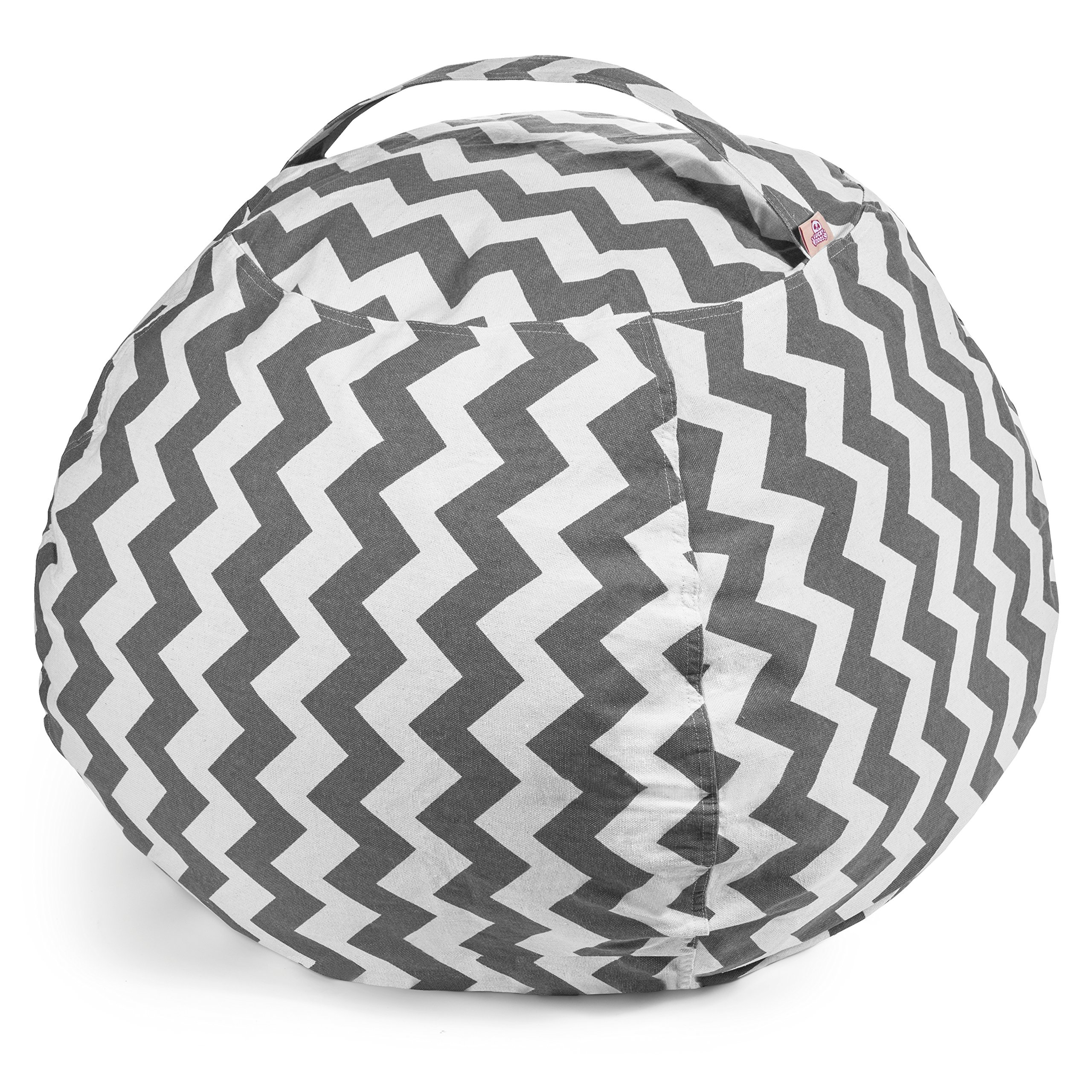Lucky Doos Extra Large Stuffed Animal Bean Bag Chair - 38'' Soft Jumbo Cover and Grey Chevron Cotton Canvas for Kids - Teddy Bear and Plush Stuffable - XL Chairs and Toy Storage