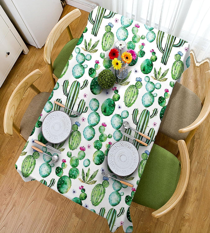 HAIXIA Mantel decorativo, diseño de flores de cactus mexicanas, color blanco, rosa claro y verde lima, 55inch55inch