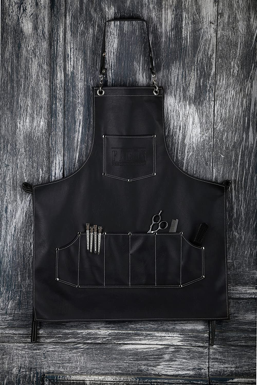 Facó n Beauty Facó n Professional Leather Hair Cutting Hairdressing Barber Apron Cape for Salon Hairstylist - Multi-use Adjustable with 8 pockets - Heavy Duty Premium Quality - Limited Edition - 30' x 24' (Black) EXPSFD001444