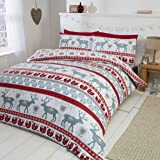 Scandi 100% Brushed Cotton Flannelette Quilt Duvet Cover and Pillowcase Bedding Bed Set, Red/Multi-Colour, Single