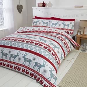 Scandi 100% Brushed Cotton Flannelette Quilt Duvet Cover and 2 Pillowcase Bedding Bed Set, Red/Multi-Colour, King
