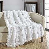 "Chic Home 1 Piece Elana Shaggy Faux Fur Super Soft Ultra Plush Decorative Throw Blanket, 50 x 60"", White"