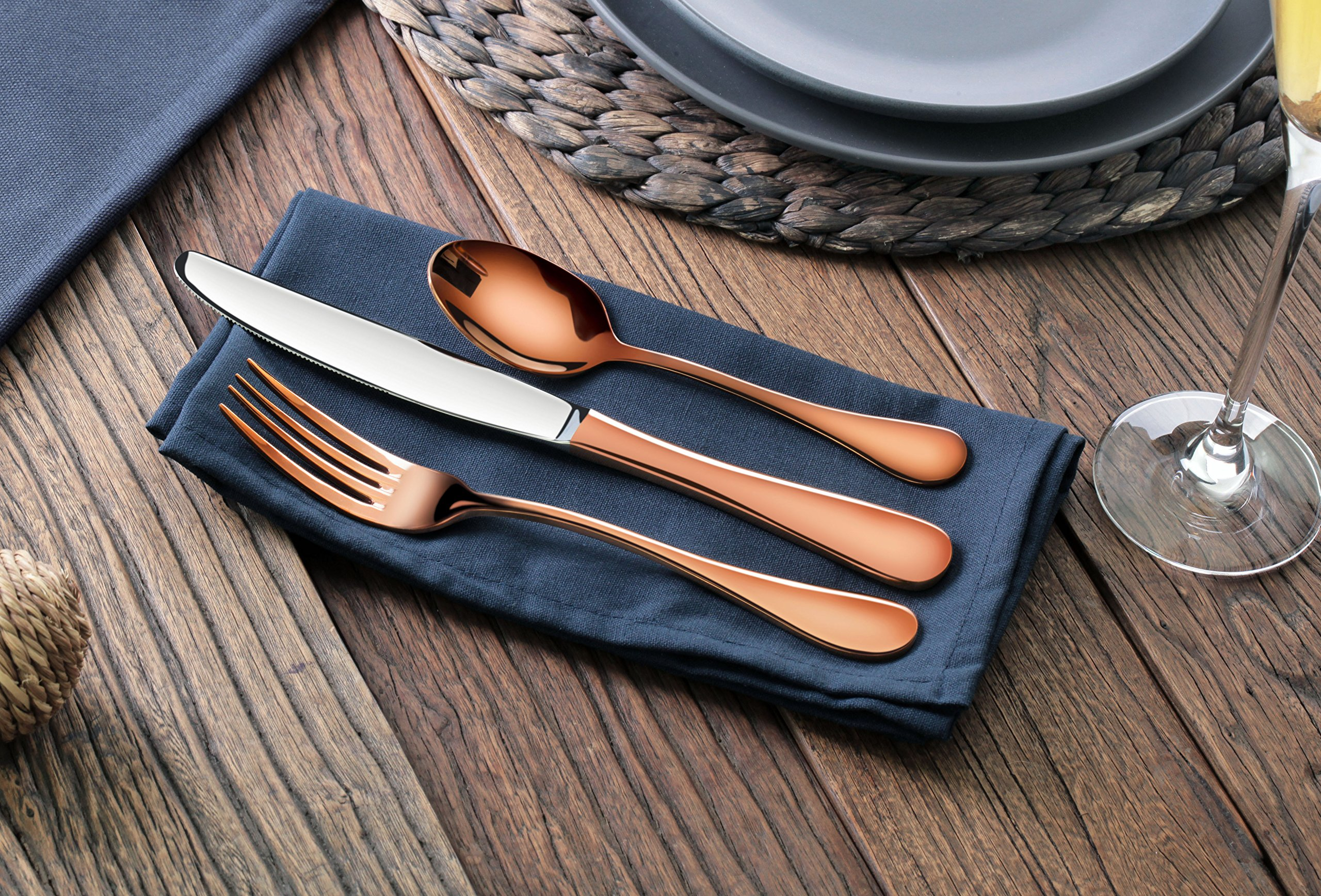 Artaste 56419 Rain 18/10 Stainless Steel Flatware 36 Piece Set, Antique Copper Finished, Service for 12 by Artaste (Image #3)