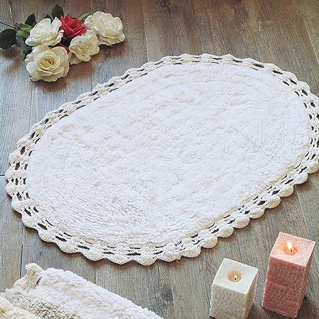 Blanc Mariclò Tappeto Bagno Shabby Chic Ovale Bordo Crochet Colore