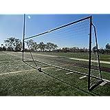 Vallerta® 24 x 8 Ft.Regulation Size Soccer Goal w/Weatherproof HDPE Net. 50MM Diameter Industrial Grade Black Powder Coated Galvanized Steel. Portable 8x24 Foot Training Aid(1Net)ONE YEAR WARRANTY!