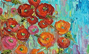 Toland Home Garden Fabulous Flowers 18 x 30 Inch Decorative Flower Floor Mat Colorful Painting Doormat