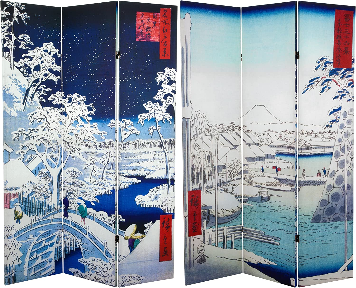 3 Panel Size 6-Feet Tall Diamond Weave Natural Fiber Folding Screen Oriental Furniture Most Popular Room Dividers and Floor Screens White