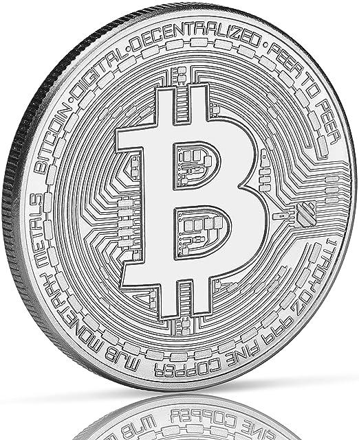 Moneda física de Bitcoin revestida en plata auténtico. Una ...