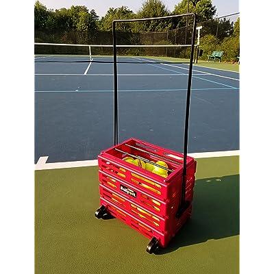 Tourna Ballport Tennis Ball Hopper Holds 80 Balls Durable and Lightweight Red
