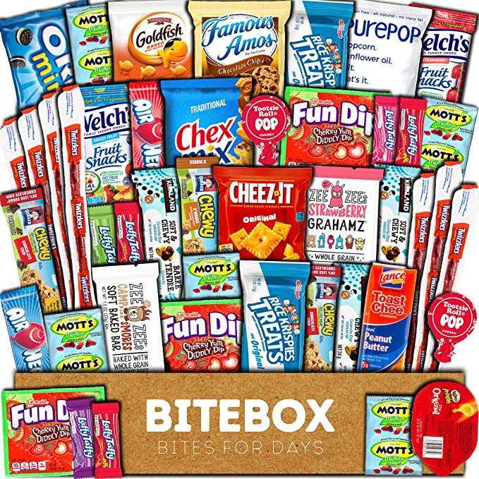 BiteBox Care Package (45 Count) Snacks Food Cookies Bar Chips Candy Ultimate Variety Gift Box Pack Assortment Basket Bundle Mix Bulk Sampler Treats College Students Office Valentines Day Chocolates