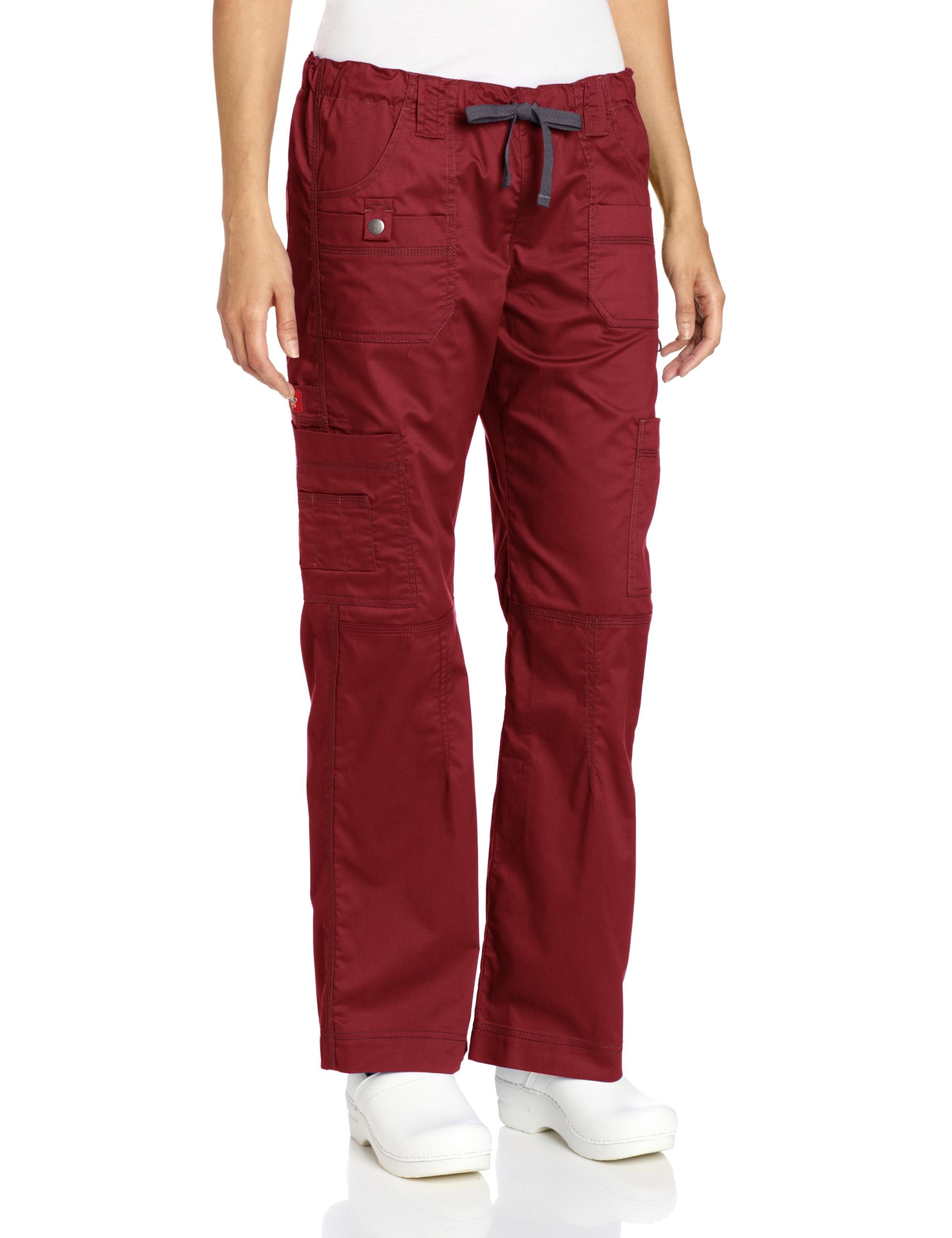 Dickies Women's Petite Gen Flex Junior Fit Contrast Stitch Cargo Pant,Wine,X-Small Petite