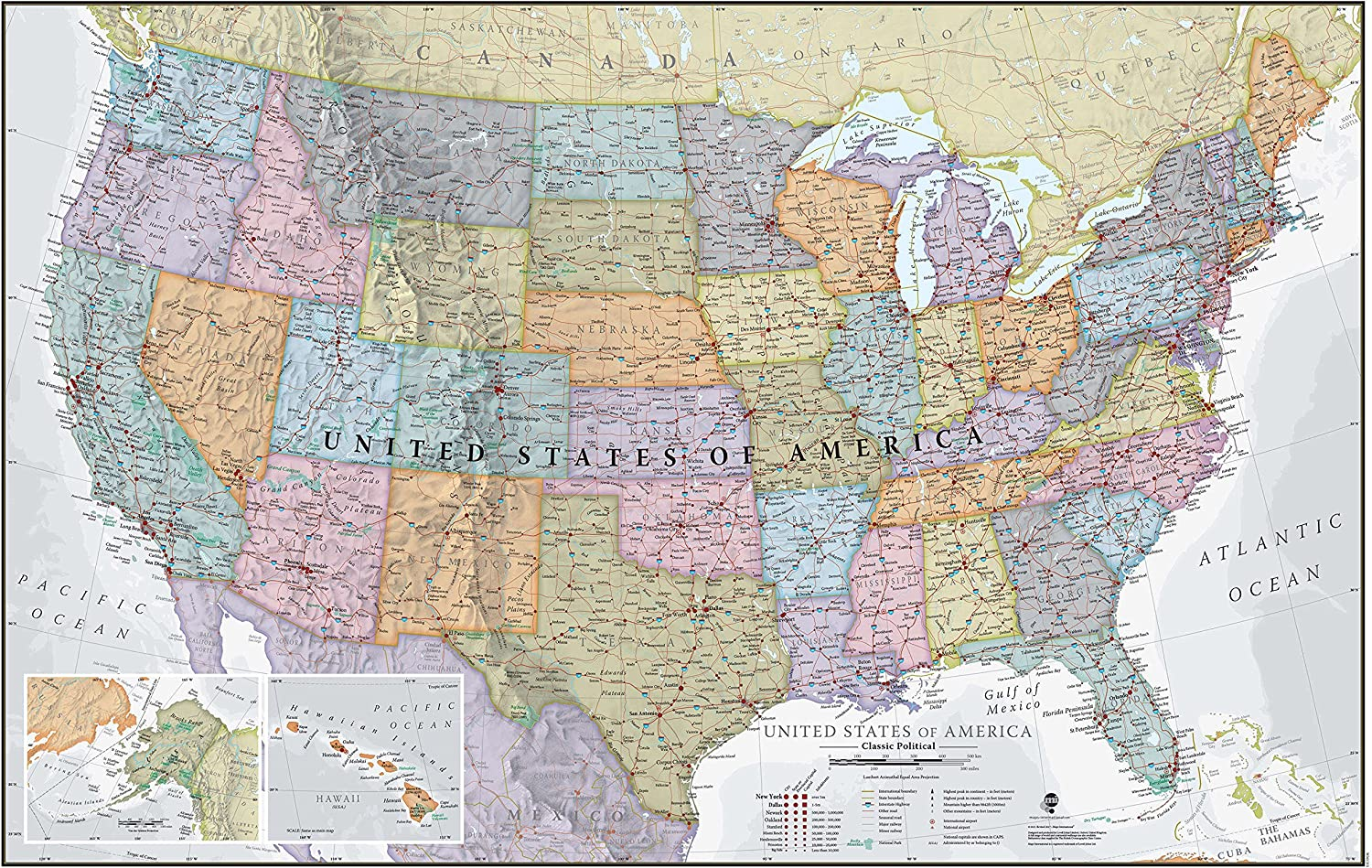 24x36 United States Laminated USA Classic Elite Wall Map Mural Poster