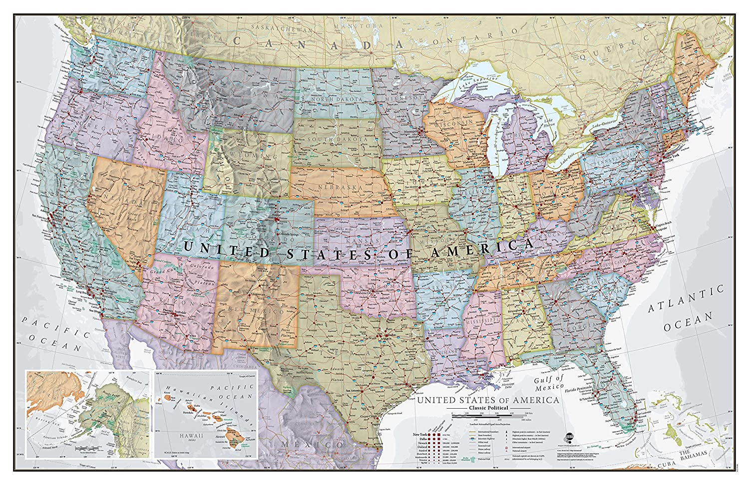 Images Of The Map Of The Usa.Maps International Classic Usa Wall Map Map Of The Usa Poster Front Lamination 34 X 22
