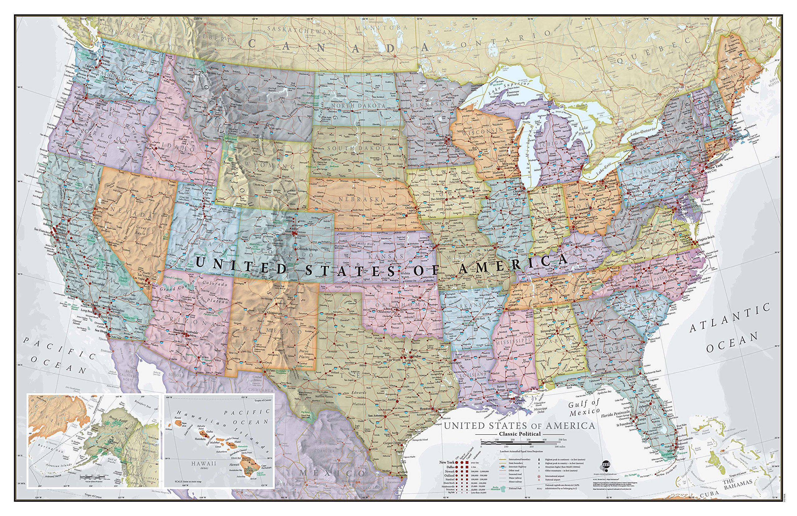 Maps International Classic USA Wall Map - Map of The USA Poster - Front Lamination – 34 x 22