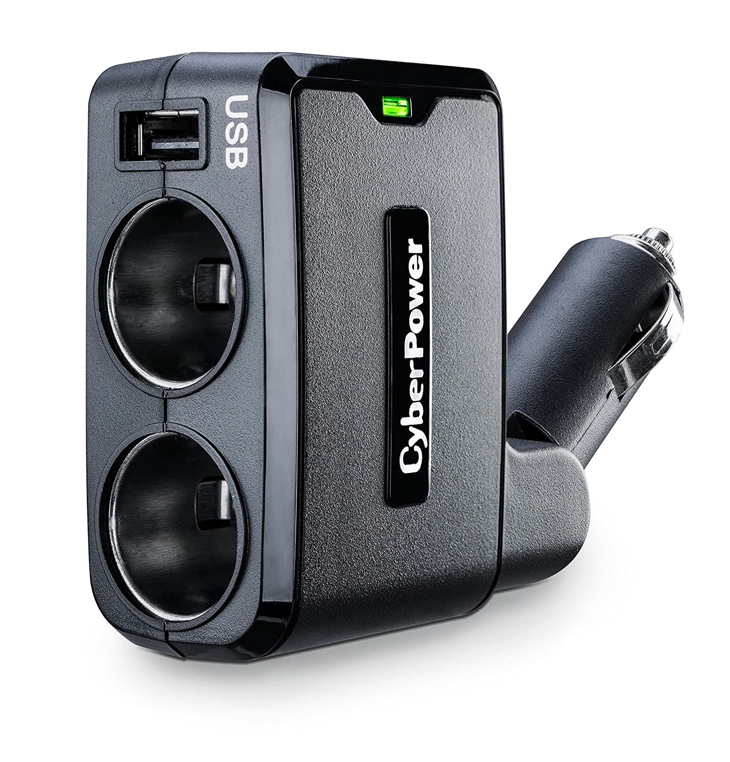 CyberPower CPTDC1U2DC USB Charger 2.1 Amp USB Port Compact Design Cyber Power Dual DC Outlets