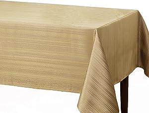 "Benson Mills Flow ""Spillproof"" Fabric Tablecloth, 60X120 Inch, Ivory/Ecru"