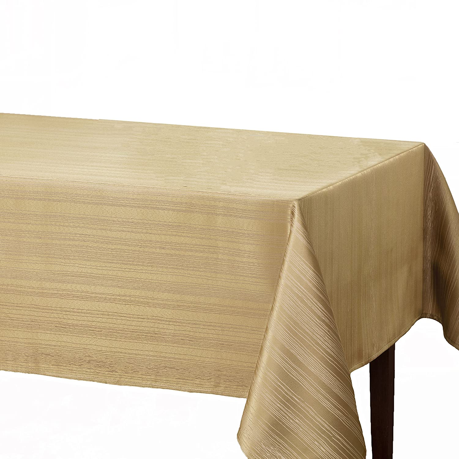 "Benson Mills Flow ""Spillproof"" Fabric Tablecloth, 60X104 Inch, Ivory/Ecru"