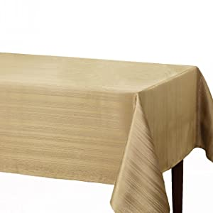 "Benson Mills Flow ""Spillproof"" Fabric Tablecloth, 60X84 Inch, Ivory/Ecru"