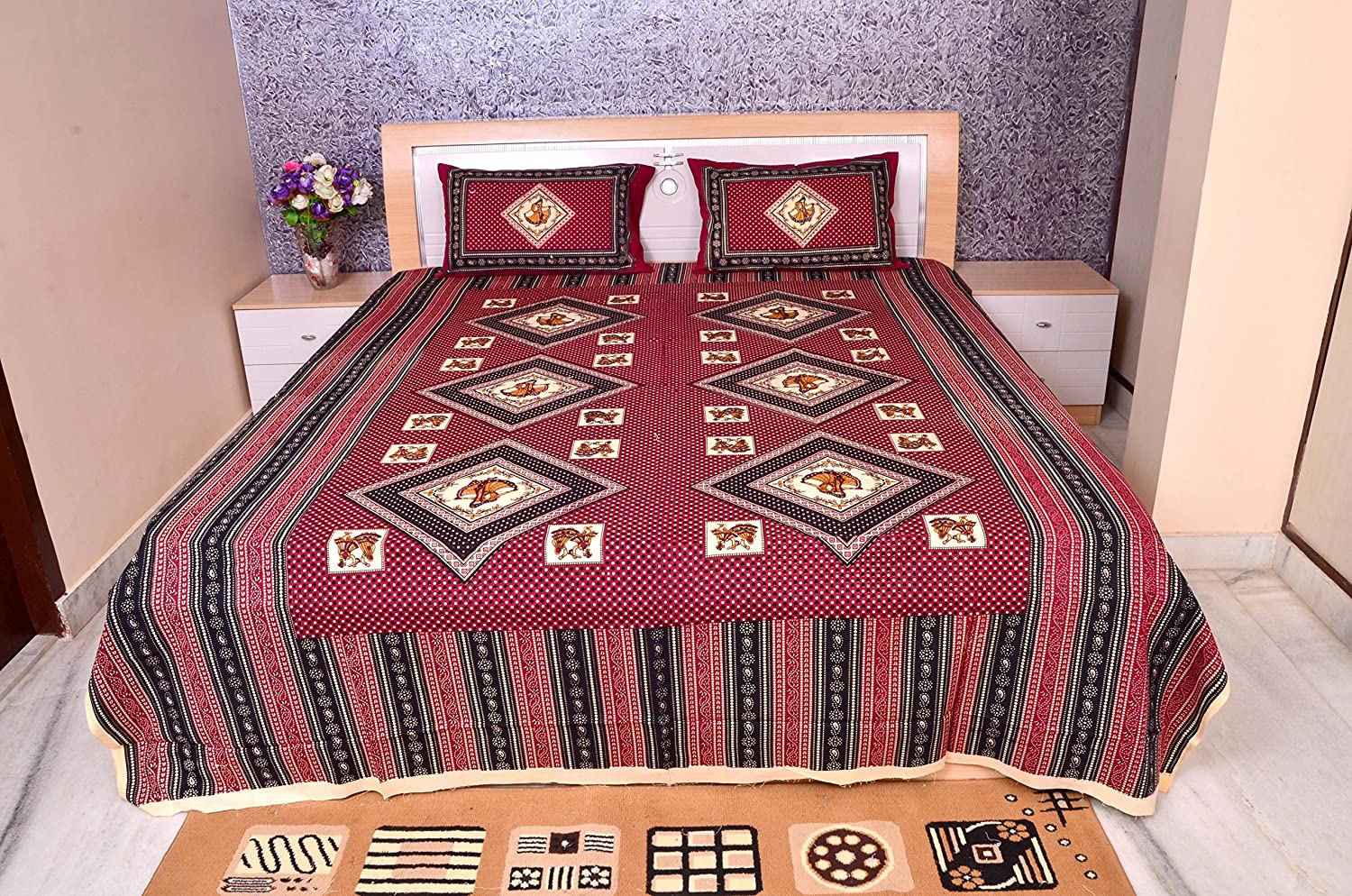 Rajasthani Print Handmade Cotton Floral Design Bed Sheet Two Pillow Covers Set