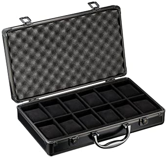 bf15583d2214 Watch Storage Case Aluminum Metal Briefcase for 12 Large Watches