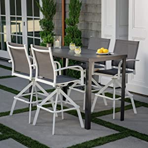 Hanover Naples 5-Piece High-Dining Set with 4 Swivel Chairs and a Glass-Top Bar Table, White/Gray, NAPDN5PCBR-WG Outdoor Furniture