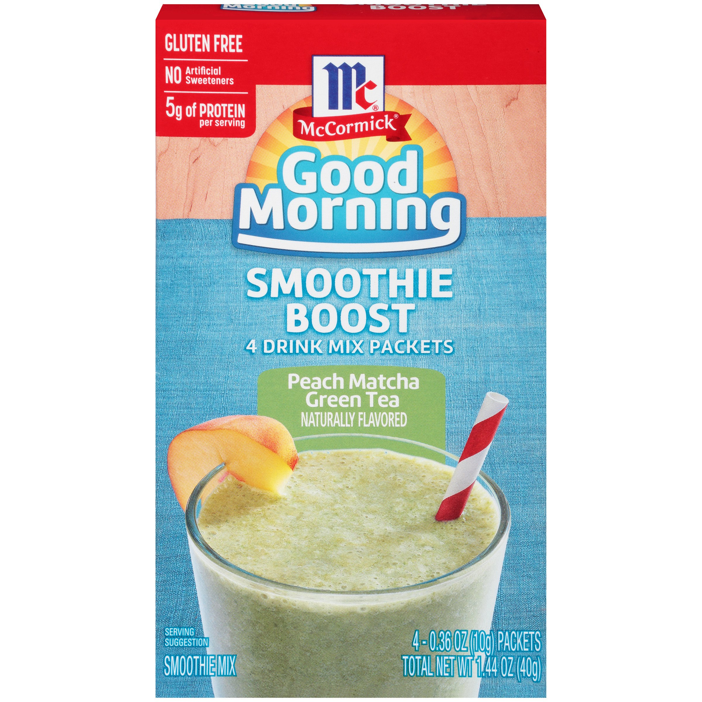 McCormick Good Morning Smoothie Boost Smoothie Mix Packets, Peach Matcha Green Tea, 1.44 Ounce