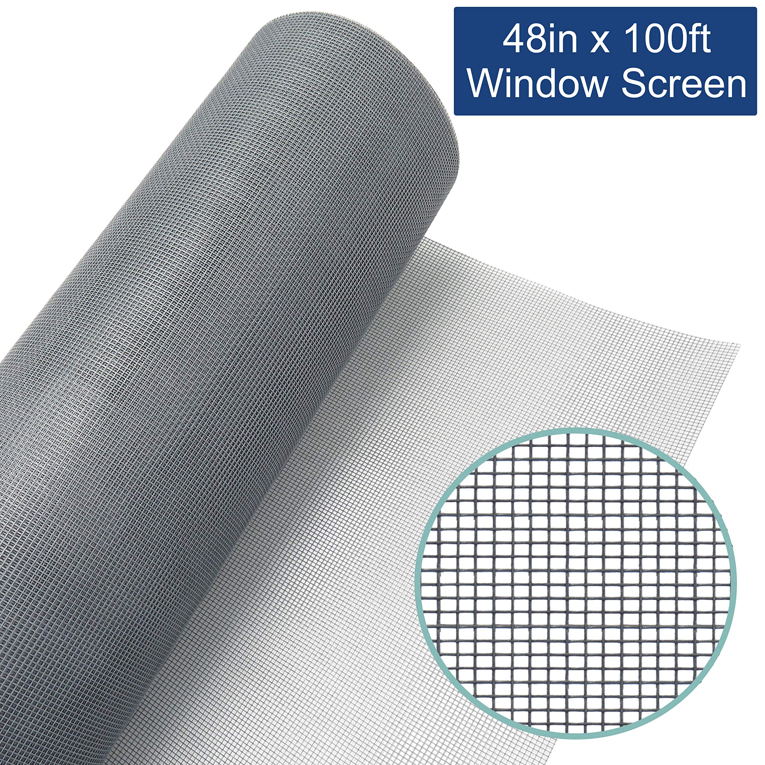 Window Screen Mesh Roll 48in x 100ft – Fiberglass Screen Replacement Mesh for DIY Projects (Grey Mesh)