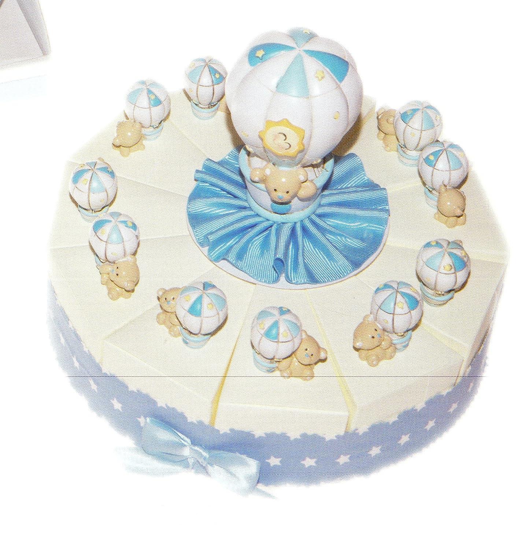 mejor vendido Baby tartas Bomboniere Celeste 11 porciones porciones porciones de tarta con globo y oso de resina completo de Confetti blancos Crispo al chocolate  entrega de rayos
