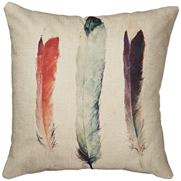 decorbox cotton linen decorative throw pillow case cushion cover feathers 18