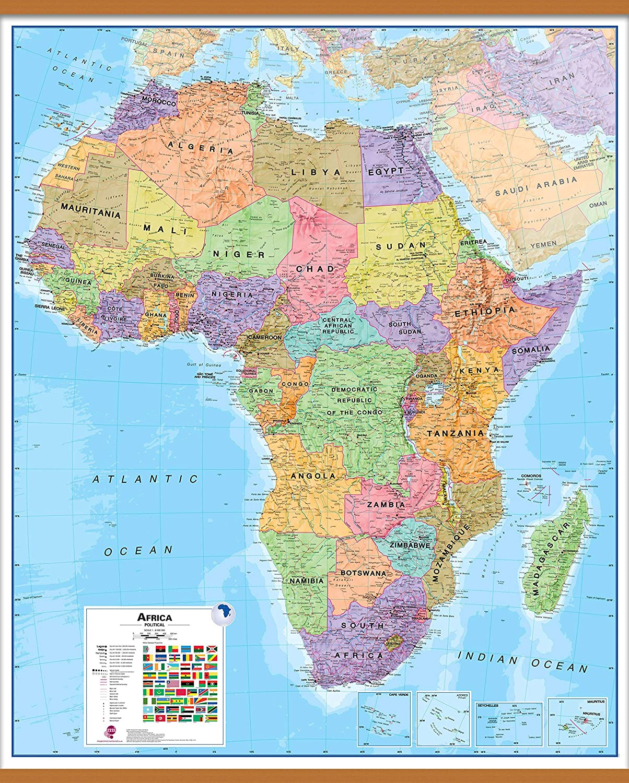 Maps International Political Africa Wall Map Laminated 39 X 47