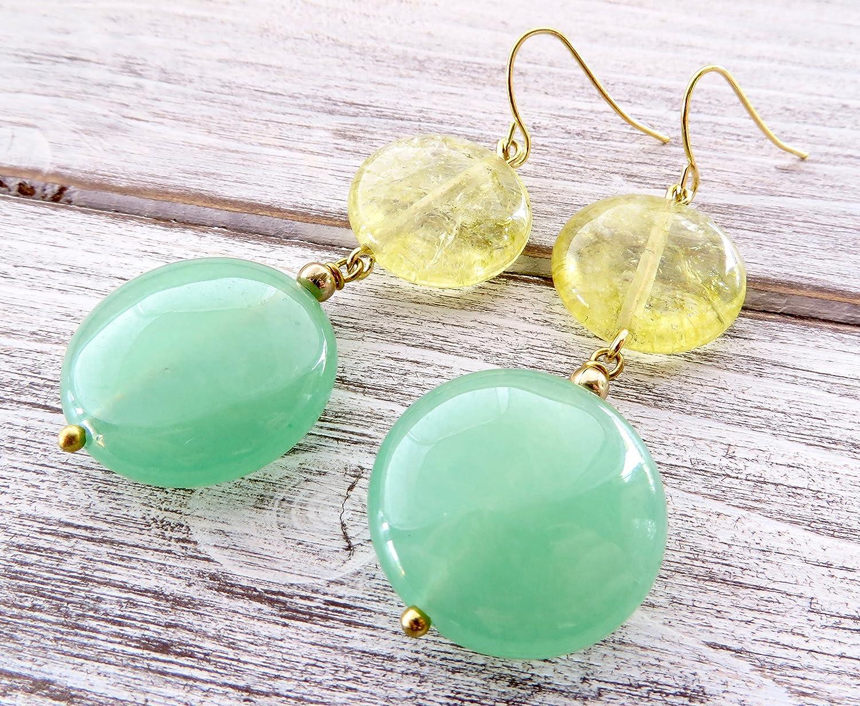 Pendientes de cuarzo amarillo y jade verde, pendientes de piedras semi preciosas, pendientes colgantes, joyas para mujer, joyas modernas